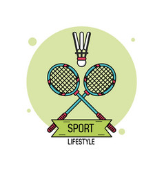 colorful poster of sport lifestyle of badminton vector image