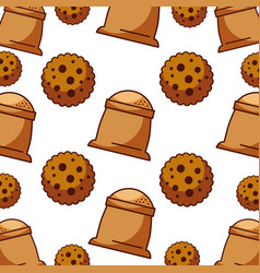 cookie and sack flour bakery kitchen seamless vector image