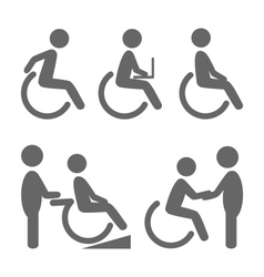 Disability people pictograms flat icons isolated vector