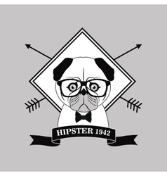 Dog animal hipster style vector