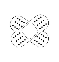 Dotted shape aid band adhesive in shape of cross vector