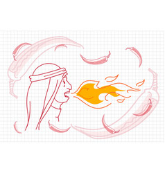 female breathing fire hot chili pepper concept vector image