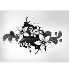 Floral spring elements with swirls and flowers vector