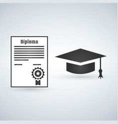 graduation cap and diploma with stamp vector image