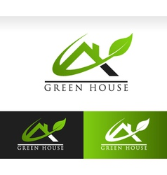 Green House Roof Logo Icon vector image vector image
