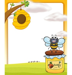 Honey bee and bottle vector image vector image
