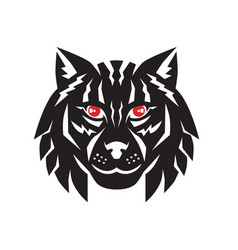 Lynx cat head front vector