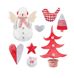 Nice watercolor christmas set vector