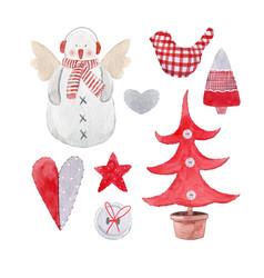 Nice watercolor christmas set vector