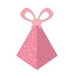 Pink gift box pyramid dotted bow vector