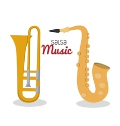 Saxophone and trumpet icon music instrument vector