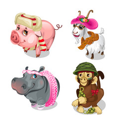 set of funny little animals in clothes vector image vector image