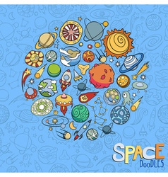 space objects doodles vector image