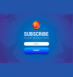 Subcribe form with name and email input fields and vector