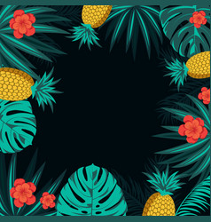 Tropical poster with tropical leaves flowers and vector