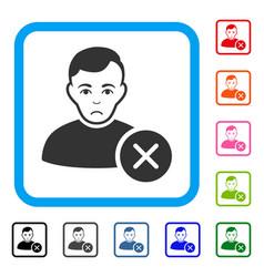 User delete framed unhappy icon vector