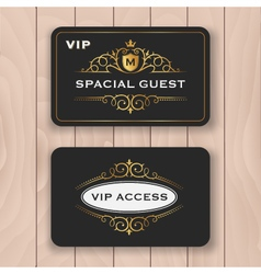 VIP access card with golden flourish frame vector image