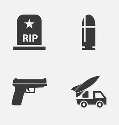 Warfare icons set collection of slug ordnance vector