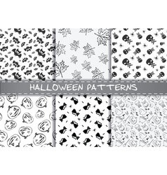 Set of halloween patterns endless monochrome vector