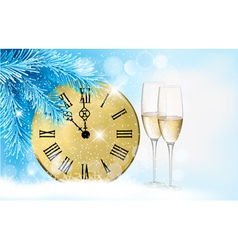 Holiday blue background with champagne glasses and vector