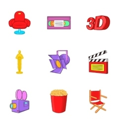 Watching movie icons set cartoon style vector