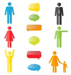 colorful people icons with speech bubbles vector image