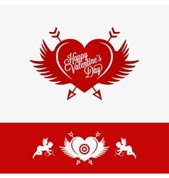 Valentines day heart with wings concept background vector