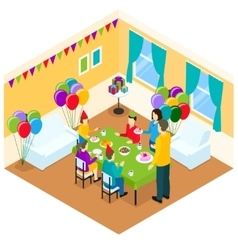 Celebration of birthday isometric design vector