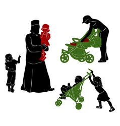 The isolated silhouettes of parents and children vector