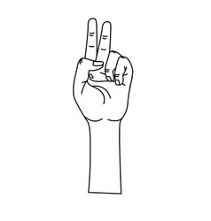 Line hand with middle finger and fingerprint up vector