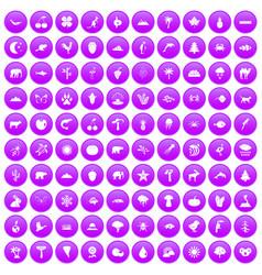 100 nature icons set purple vector