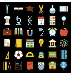 Big flat back to school objects set over black vector