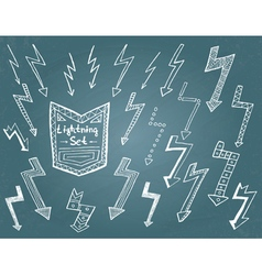 Set of hand drawn lightning vector