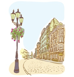 Antique european street summer city landscape vector