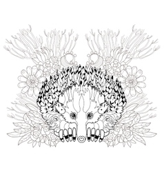 Hand drawn animal echidna vector