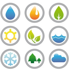 Energy nature and environment symbols collection vector