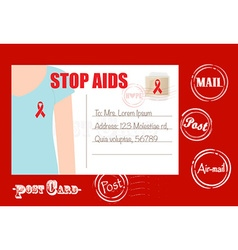 Aids awareness cards design women wearing ribbons vector