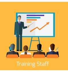 Training staff briefing presentation vector