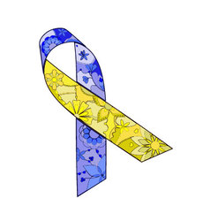 Blue-yellow-ribbon-painted vector