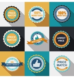Quality label sign set in flat modern design with vector