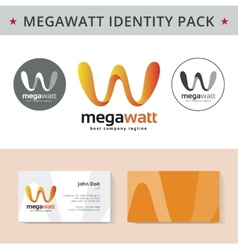 Abstract letter W identity pack concept Logo visit vector image