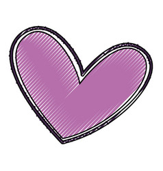 beautiful heart drawing icon vector image