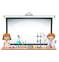 border template with kids in science lab vector image vector image
