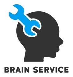 Brain service flat icon with caption vector