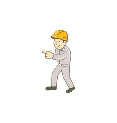 Builder construction worker pointing cartoon vector