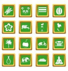 Costa rica icons set green vector