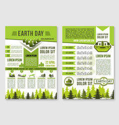 Earth day brochure template for ecology design vector