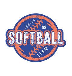 Emblem of softball junior team vector
