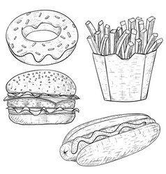 fast food vintage sketch vector image vector image