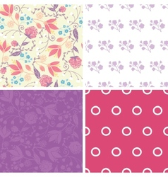 Fresh field flowers and leaves set of four vector